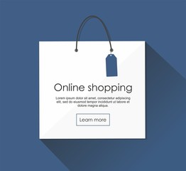 Online shopping with package Vector Illusrtation