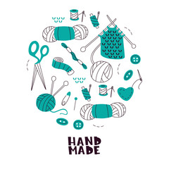 Needlework Tools Hand Drawn Vector Symbols. Set of Handmade Elements on White Background.
