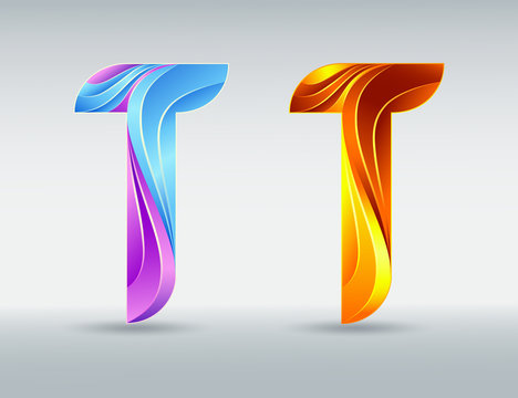Colorful creative letter T. Abstract 3D font. Caramel and ultraviolet colors. Isolated vector symbol on a light background. Logo template for corporate identity.