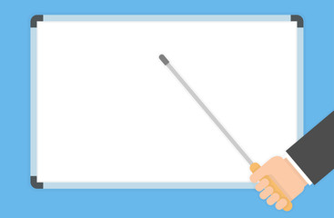 Hand holding a pointer and pointing to a blank white board with it. Presentation concept