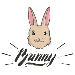 Vector cute bunny girl portrait. Hand drawn animal illustration for t-shirt print, kids greeting card, Happy Easter symbol.