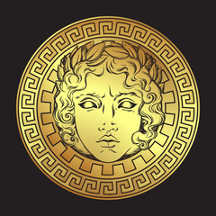Greek and roman god Apollo. Hand drawn antique style logo or print design art vector illustration.