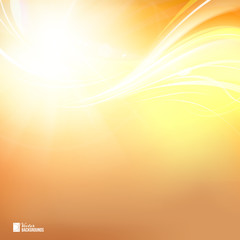 Colorful smooth light lines on orange background. Vector Illustration.