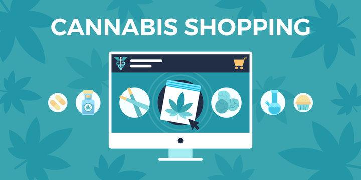marijuana shopping concept