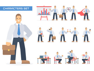Businessman working character