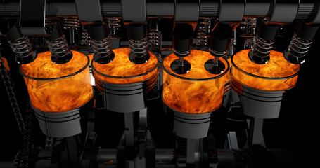 3D Model Of a V8 Engine. Pistons and other mechanical parts are in motion.