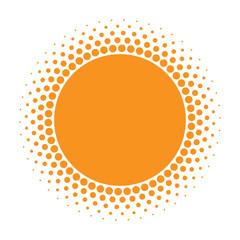 Sun icon. Halftone orange circle with gradient  texture circles logo design element. Vector illustration