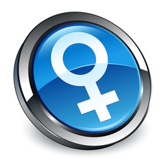 Female sign icon 3d blue round button