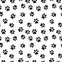 Dog paw print vector seamless pattern