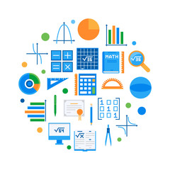 Mathematics and science round flat vector illustration