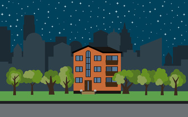 Vector city with three-story cartoon house and green trees at night. Summer urban landscape. Street view with cityscape on a background