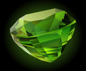 Illustration with beautiful shiny faceted green chrysolite on dark background