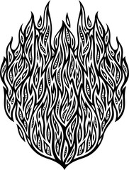 Isolated drawing flat black and white detailed abstract pattern with fire