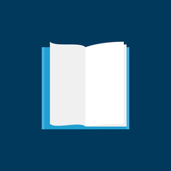 Open Book with white pages flat vector icon