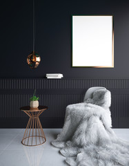 Luxury minimalist dark living room interior with fur on chair and poster mockup, 3d render