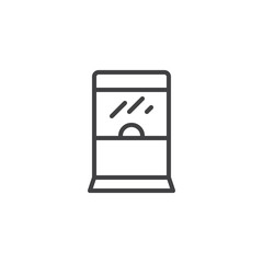 Ticket window outline icon. linear style sign for mobile concept and web design. Transaction window booth simple line vector icon. Symbol, logo illustration. Pixel perfect vector graphics