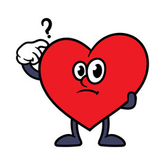 Cartoon Confused Heart Character