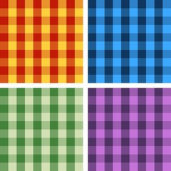 Set of four seamless colorful gingham checkered patterns.