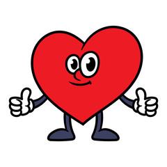 Cartoon Heart Character Giving Thumbs Up