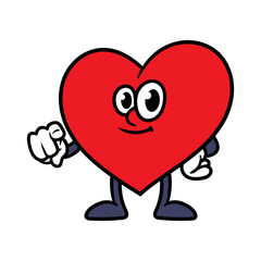 Cartoon Pointing Heart Character