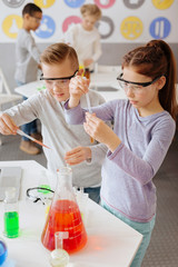 Chemistry lovers. Two pleasant classmates using pipettes and adding some chemicals to the test tubes while conducting an experiment during chemistry class