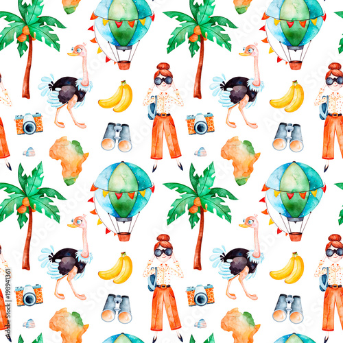 Africa Watercolor Seamless PatternSafari Collection With Cute Ostrich Bananaair Balloon