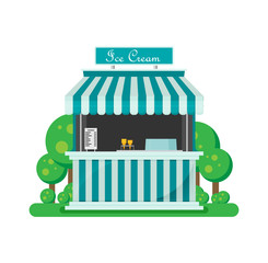 Shiny colorful ice cream shop vector illustration.