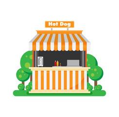 Hot dog, shop. Vector.