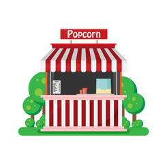 Shop popcorn flat vector