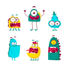 Characters monsters. Flat design vector illustration.