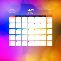 May 2018. Calendar planner design template with abstract background. Week starts on Sunday