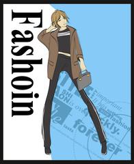 Fashion illustration. Stylish fashion models. Fashion girl Sketch. Girl in the jacket