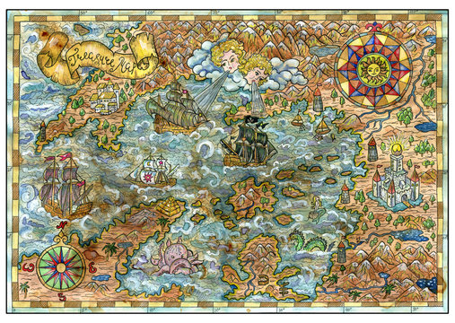 Old map of fantasy lands with pirate ships, monsters, castles, treasure islands. Decorative antique nautical chart, collage with hand drawn illustration