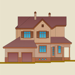 The house is built of light brick and natural wood. American style architecture of a residential building.