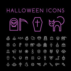 Set of 50 Minimal Thin Line White Halloween Icons on Black Background . Isolated Vector Elements.