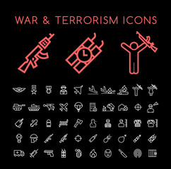 Set of 50 Minimal Thin Line White War and Terrorism Icons on Black Background . Isolated Vector Elements