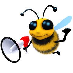 3d Funny cartoon honey bee character using a megaphone