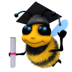 3d Funny cartoon honey bee character wearing a mortar board and holding a diploma