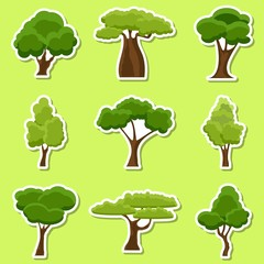 Set of flat stylized Tree stickers. Cartoon garden green tree icons. Nature environment organic forest and park. Spring or summer trees stickers. Vector illustration