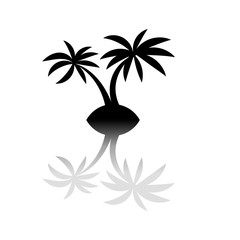 Silhouette of Two Palm Trees on Island Icon with Reflection