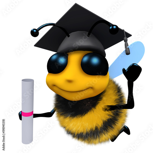 3d Funny Cartoon Honey Bee Character Wearing A Mortar Board And