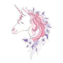 unicorn vector head with mane and horn on floral background.