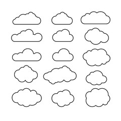 Set of blue sky, clouds. Cloud icon, cloud shape. Set of different clouds. Collection of cloud icon, shape, label, symbol. Graphic element vector. Vector design element for logo, web and print.