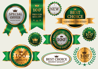 Gold green banner collection set luxury on gray background vector illustration.