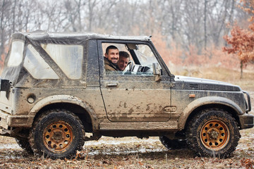Offroad car in mud