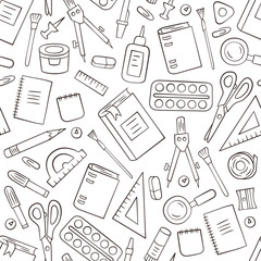 School and office stationery. Seamless pattern in doodle and cartoon style. Outline. Vector. EPS 8