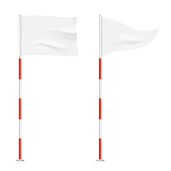 Golf flags isolated on background. Square and triangular vector waving flags, waving on a stick.