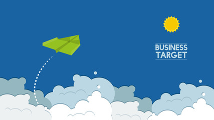 flying paper plane cartoon on blue sky background