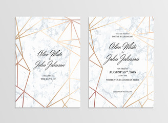 Invitation card template of geometric design. Two side. Invitation to a wedding party. White marble background and rose-gold geometric pattern. Dimensions 5x7 inch. Seamless pattern included. Eps10.