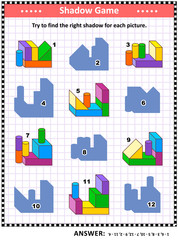 IQ training visual puzzle or picture riddle: Try to find the right shadow for every building blocks construction. Answer included.